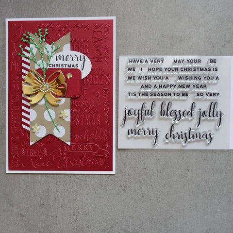 shopaperartz CHRISTMAS FESTIVE WORDS SENTIMENTS MIX MATCH CLEAR STAMP SET 16 PCE CARDMAKING