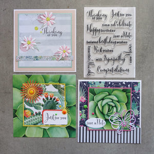 shopaperartz SENTIMENT ALLSORTS STAMP SET BIRTHDAY SYMPATHY THANKS CONGRATS 11 PCE CARDMAKING