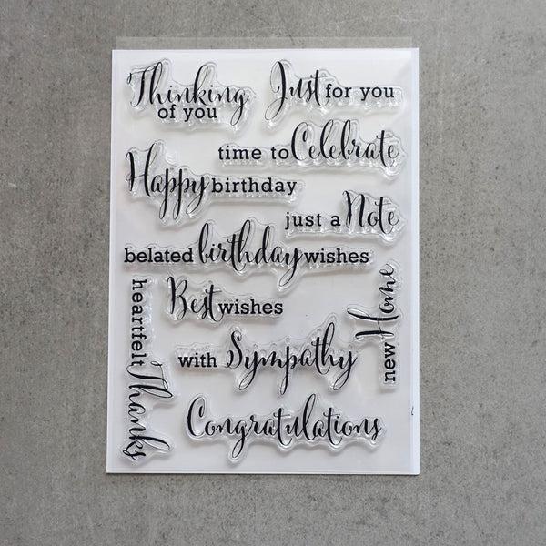 shopaperartz SENTIMENT ALLSORTS CLEAR SILICONE STAMP SET 11 PCE BIRTHDAY SYMPATHY THANKS CONGRATS CARDMAKING