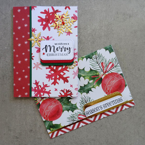 "CHRISTMAS ""HOLLY"" DESIGNER CARD PAPER A5 PACK RED GREEN WHITE CARDMAKING 24 SHEETS"