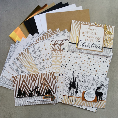 "CHRISTMAS ""SPARKLE"" DESIGNER CARD PAPER A5 PACK GOLD WHITE BLACK CARDMAKING 24 SHEETS"