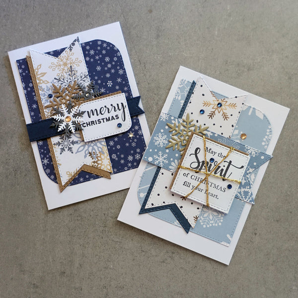 "CHRISTMAS ""SNOWFLAKES"" DESIGNER CARD PAPER A5 PACK GOLD BLUE WHITE CARDMAKING 24 SHEETS"
