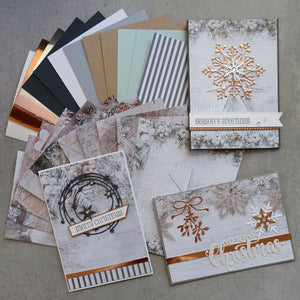 "WHITE CHRISTMAS ""NORDIC"" DESIGNER CARD PAPER A6 ROSE GOLD SILVER CARDMAKING 24 SHEETS"