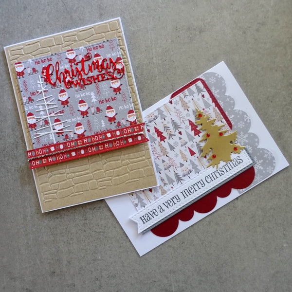 "CHRISTMAS ""HO HO HO"" DESIGNER CARD PAPER A6 RED GOLD WHITE CARDMAKING 24 SHEETS"