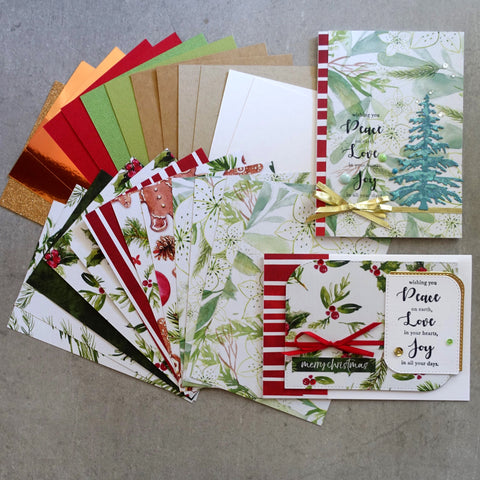 KAISERCRAFT CHRISTMAS PEACE & JOY 6X4 CARD PAPER PACK RED WHITE GREEN 25 SHEETS CARDMAKING