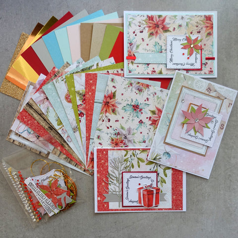 MINTAY + MIXED BRANDS CHRISTMAS STORIES 6X4 CARD PAPER PACK #1 24 SHTS + EMBELLIES CARDMAKING