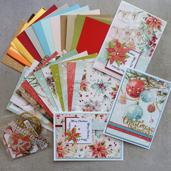 MINTAY + MIXED BRANDS CHRISTMAS STORIES 6X4 CARD PAPER PACK #3 24 SHTS + EMBELLIES CARDMAKING
