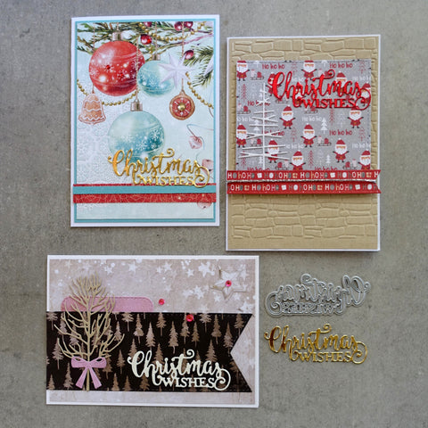shopaperartz CHRISTMAS WISHES SENTIMENT GREETING CUTTING DIE CARDMAKING