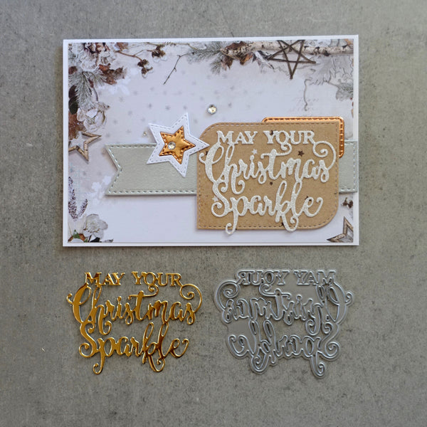 shopaperartz CHRISTMAS SPARKLE SENTIMENT GREETING CUTTING DIE CARDMAKING