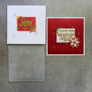 central craft EMBOSSING FOLDER SQUARE 14X14 CHRISTMAS HOLLY FRAME CARDMAKING CCC-4075
