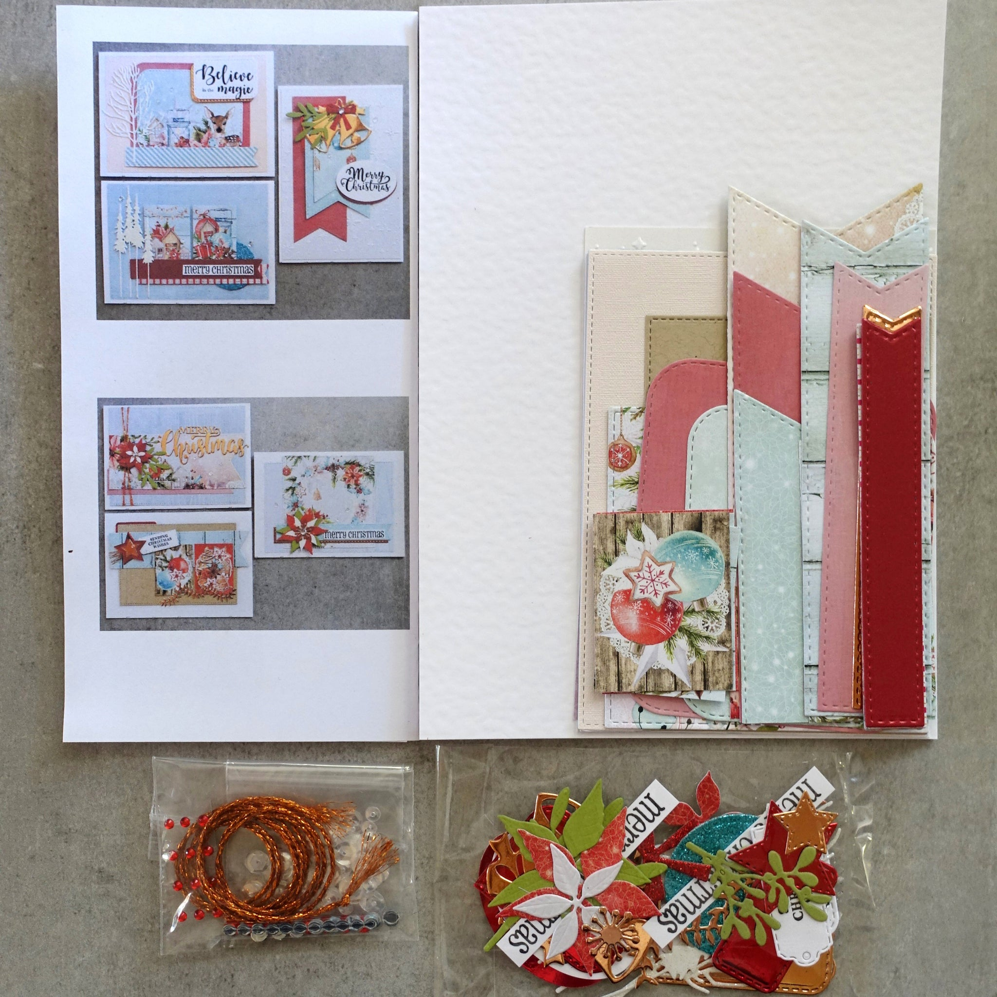 DESIGNER DIY CARD KIT #1 MINTAY CHRISTMAS STORIES 6 CARDS CARDMAKING