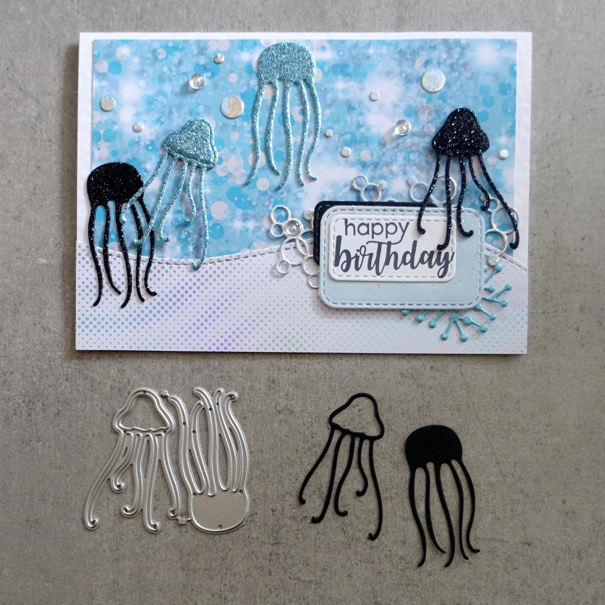 shopaperartz JELLYFISH OCEAN SEA NAUTICAL ACCENT CUTTING DIES CARDMAKING