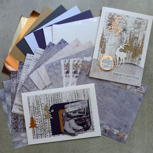 "FREE DIE: STUDIO LIGHT ""SNOWY AFTERNOON"" NORDIC CHRISTMAS PAPER CARD PACK 6x6 24 SHEETS CARDMAKING PPSA125"