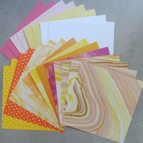 "PAPER 6""x6"" MARBLE POLKADOTS GRUNGE BRIGHTS ORANGE YELLOW #3 MIXED COLOURS 22 SHEETS MALE CARDMAKING"