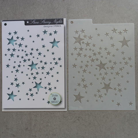 PRELOVED MEMORY BOX DESIGNER STENCIL STARS STARRY NIGHTS 16cm x 12cm TEMPLATE FOR CARDMAKING