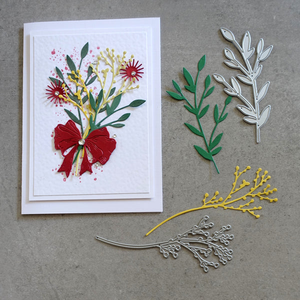 shopaperartz WATTLE GUM LEAF BERRIES NATIVE FLORA LEAVES CUTTING DIES 2 PCE FIT SIZZIX CUTTLEBUG