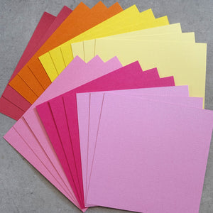"CARD 6""x6"" KAISERCRAFT SHADES OF PINK YELLOW ORANGE TEXTURED 216 GSM 20 SHEETS CARDMAKING"