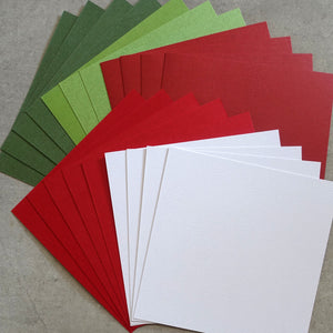 "CARD 6""x6"" KAISERCRAFT CHRISTMAS MIX RED GREEN WHITE TEXTURED 216 GSM 20 SHEETS CARDMAKING"