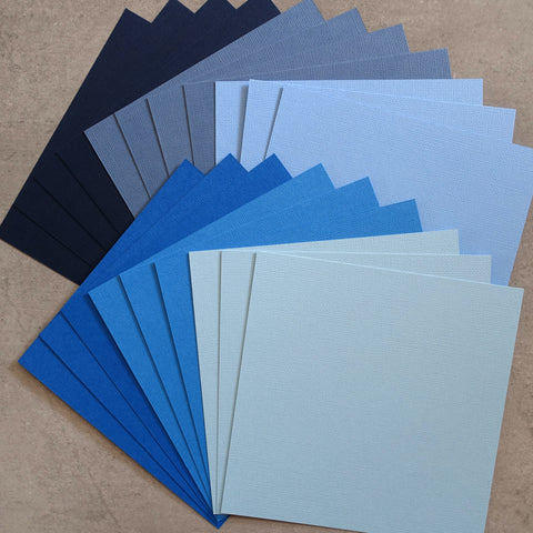 "CARD 6""x6"" KAISERCRAFT BLUE NAVY DENIM TEXTURED 216 GSM 20 SHEETS CARDMAKING"