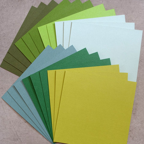 "CARD 6""x6"" KAISERCRAFT SHADES OF GREEN TEXTURED 216 GSM 20 SHEETS CARDMAKING"