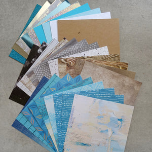 KAISERCRAFT & MIXED BRANDS BLUE GRUNGE METALLIC FOIL MALE BIRTHDAY 6x6 CARD PAPER PACK 30 SHEETS CARDMAKING