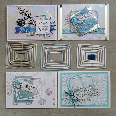 shopaperartz NESTED LAYERED UNEVEN RECTANGLES FRAMES CHRISTMAS BIRTHDAY MALE 7 PCE CUTTING DIES FITS SIZZIX CUTTLEBUG