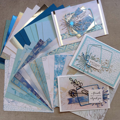 KAISERCRAFT & MIXED BRANDS OCEANIA METALLIC FOIL BEACH NAUTICAL COASTAL MALE 6x6 CARD PAPER PACK 30 SHEETS CARDMAKING