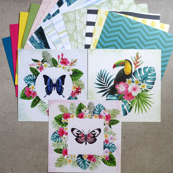 KAISERCRAFT SUNKISSED TROPICAL CARDMAKING PACK KIT #2 69 PIECES CARDMAKING