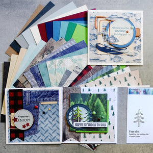 FREE DIE: KAISERCRAFT MOUNTAIN AIR OUTDOORS CARD PAPER PACK 6x6 30 SHTS MALE CARDMAKING