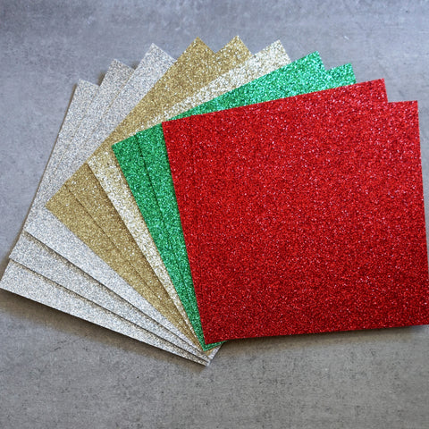 "GLITTER CARD 6"" x 6"" CHRISTMAS RED GREEN GOLD SILVER 210 GSM 10 SHEETS CARDMAKING"