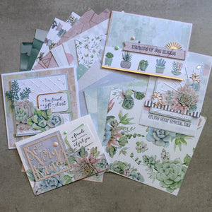 KAISERCRAFT GREENHOUSE SUCCULENT BOTANICAL 6x6 PAPER PACK 24 DOUBLE-SIDED SHEETS CARDMAKING