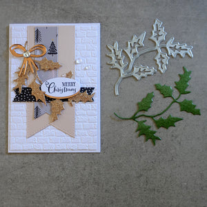 shopaperartz HOLLY BRANCH CHRISTMAS BOTANICAL CUTTING DIE CARDMAKING