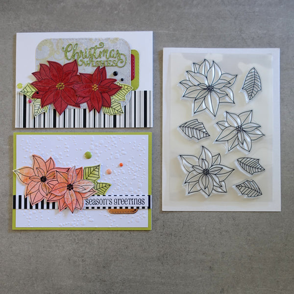 shopaperartz POINSETTIA POINSETTIAS CHRISTMAS FLOWER CLEAR STAMP SET 7 PC CARDMAKING