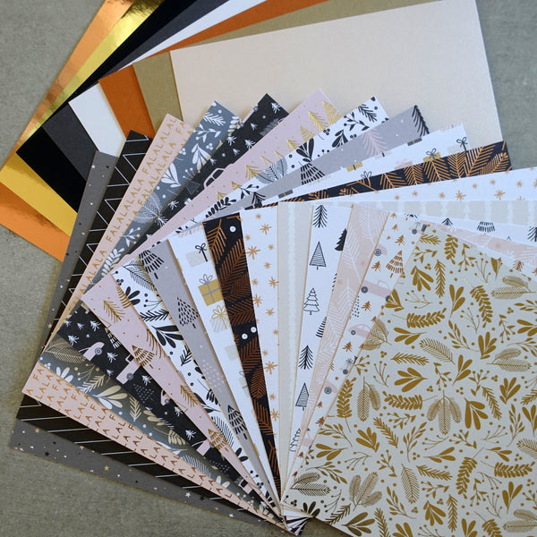 DCWV MERRY & BRIGHT CHRISTMAS ROSE GOLD FOIL DESIGNER CARD PAPER PACK 6X6 24 SHEETS CARDMAKING