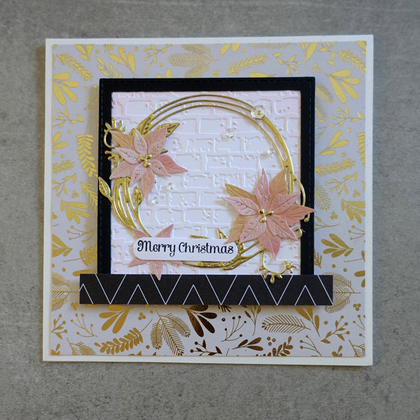 DCWV MERRY & BRIGHT CHRISTMAS ROSE GOLD FOIL DESIGNER CARDMAKING PACK 60 PIECES
