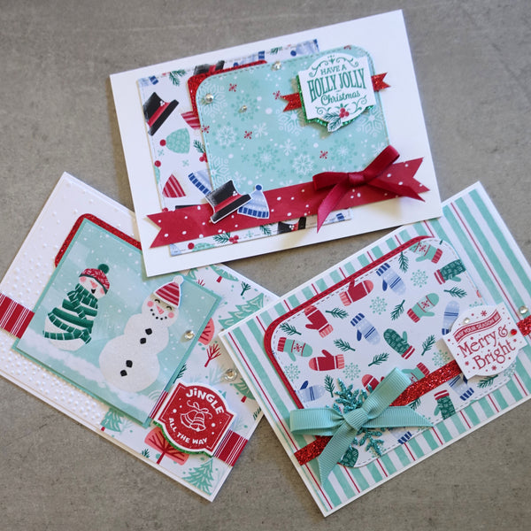 STAMPIN' UP! LET IT SNOW #1 SNOWMAN CHRISTMAS DESIGNER PAPER CARD PACK 22 SHTS + 20 MORE PCS CARDMAKING