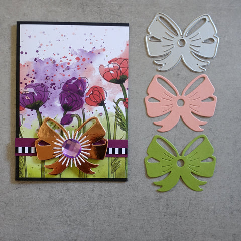 shopaperartz LARGE DOUBLE BOW CUTTING DIE BIRTHDAY CHRISTMAS CARDMAKING