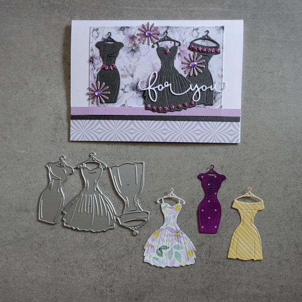 shopaperartz DRESS TRIO DRESSES FASHION BIRTHDAY WEDDING CUTTING DIES CARDMAKING