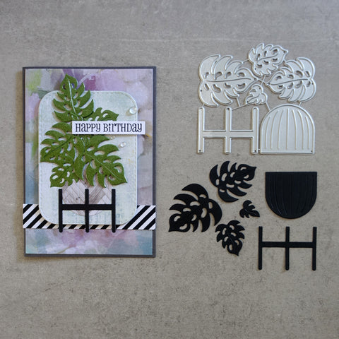 shopaperartz MONSTERIA MONSTERA LEAVES WITH POT & STAND TROPICAL BOTANICAL CUTTING DIES CARDMAKING
