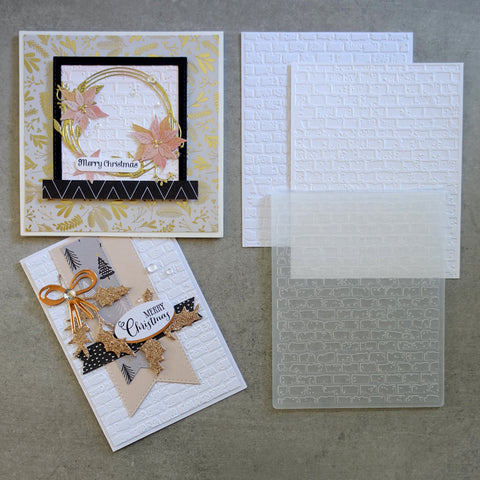 shopaperartz EMBOSSING FOLDER SNOW COVERED BRICK WALL WINTER CHRISTMAS CARDMAKING