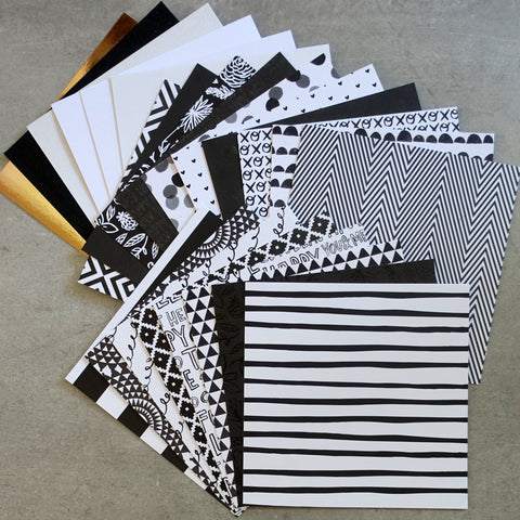DCWV JET BLACK WHITE GLITTER FOIL GEOMETRICAL DESIGNER CARD PAPER PACK 6X6 24 SHEETS BIRTHDAY MALE CARDMAKING