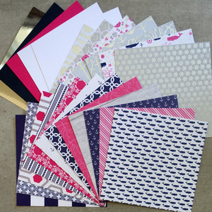 DCWV OCEAN BREEZE NAUTICAL PINK NAVY FOIL DESIGNER CARD PAPER PACK 6X6 24 SHEETS BIRTHDAY MALE CARDMAKING