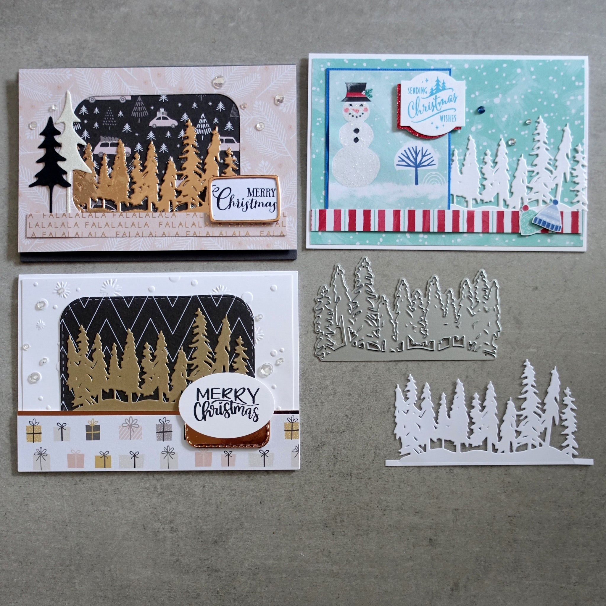 shopaperartz CHRISTMAS TREES FOREST ROW OF TREES BORDER CUTTING DIE CARDMAKING