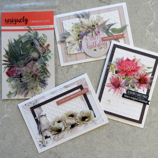 UNIQUELY CREATIVE OUTBACK DEVINE VELLUM CREATIVE CUTS COLLECTABLES AUSTRALIANA DIE-CUTS 43 PIECES CARDMAKING UCE1819