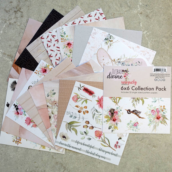 UNIQUELY CREATIVE OUTBACK DEVINE 6X6 MINI COLLECTION PACK 32 SHEETS AUSTRALIANA CARDMAKING