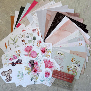 UNIQUELY CREATIVE OUTBACK DEVINE 6X6 CARD PAPER SENTIMENT AUSTRALIANA CARDMAKING PACK 40+ PIECES