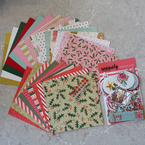 "CARD PAPER & UNIQUELY CREATIVE DIE-CUTS 6""x6"" PACK ""HOLLY JOLLY"" CHRISTMAS 24 SHEETS CARDMAKING"