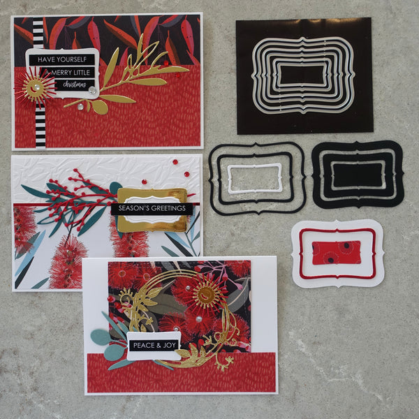 shopaperartz SMALL NESTING FRAMES LABELS #3 CHRISTMAS BIRTHDAY 6 PCE CUTTING DIES FITS SIZZIX CUTTLEBUG