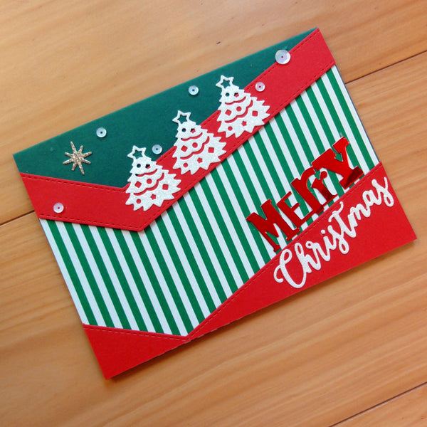 CARD A5 CHRISTMAS RED GREEN WHITE SMOOTH MATTE 30 SHEETS CARDMAKING