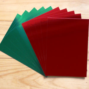 FOIL MIRROR CARD A5 RED GREEN CHRISTMAS 275 GSM 10 SHEETS CARDMAKING